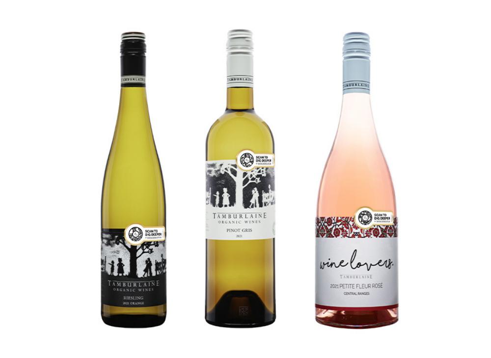Three bottles of Tamburlaine Organic Wines, featuring Laava Smart Fingerprints